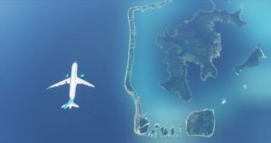 Screenshot of Fly CoralWay's A220 flying over Bora Bora, French Polynesia. Credit : Fly CoralWay Facebook account.